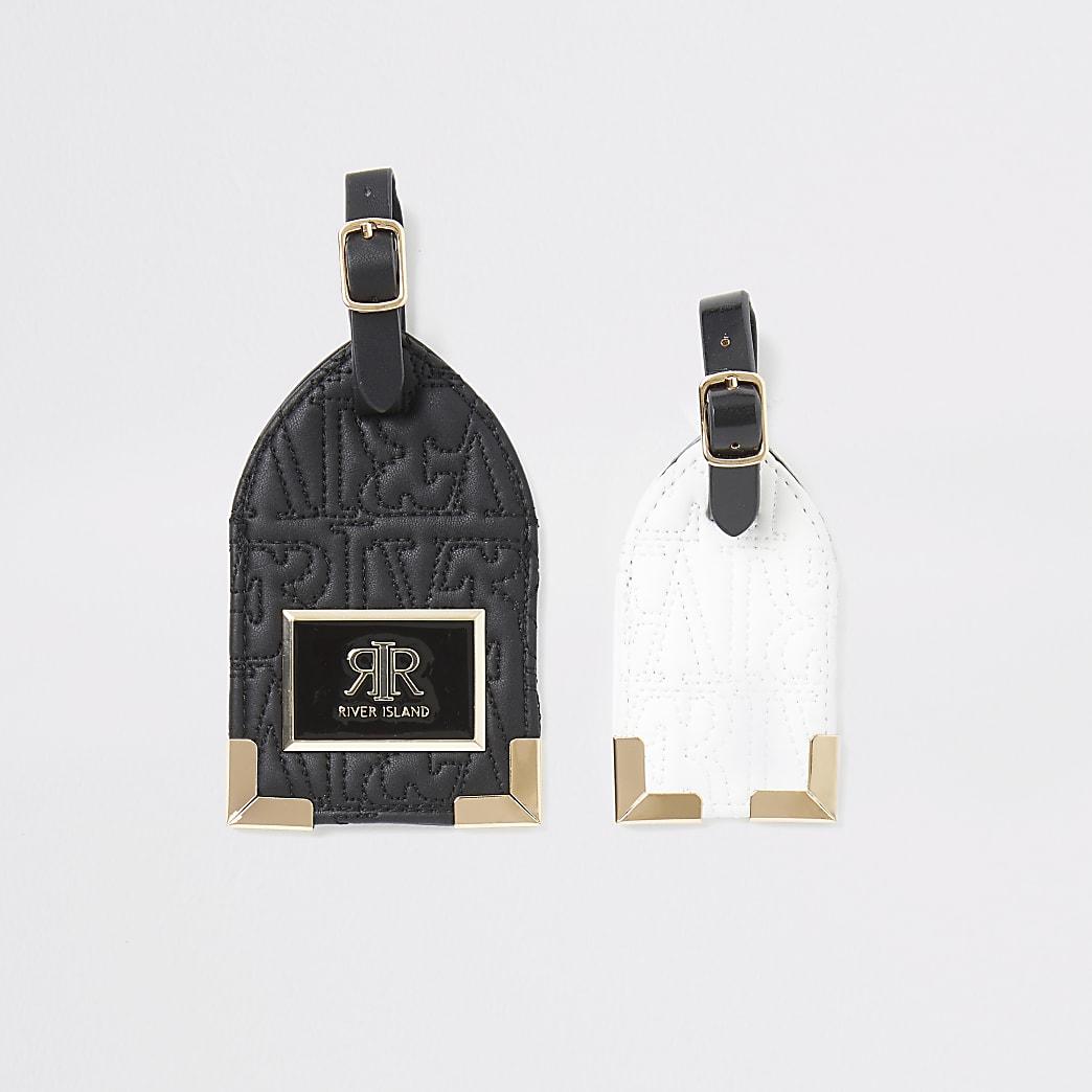Black mono RI embossed luggage tag set
