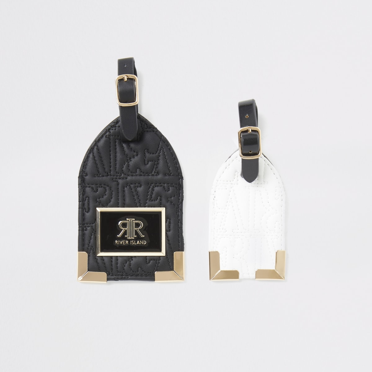 Black mono RI embossed luggage tag set