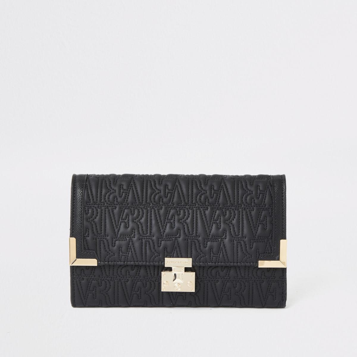 Portefeuille de voyage noir avec logo RI en relief