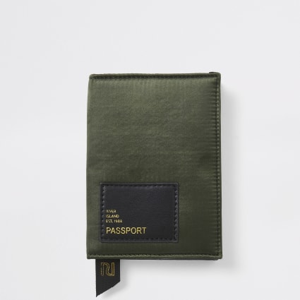 Khaki satin passport holder