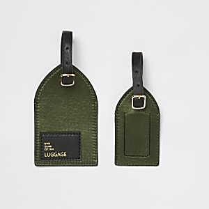 Khaki satin luggage tags