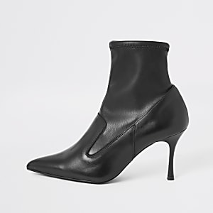 Black leather sock heel boots