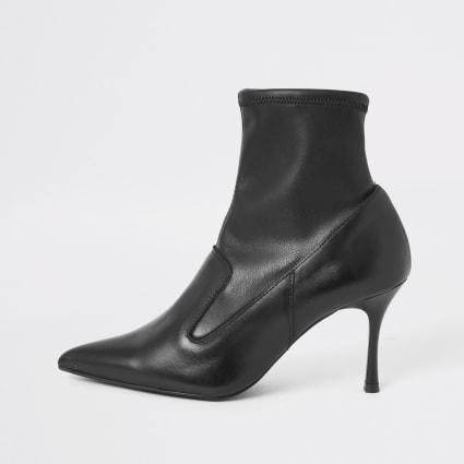 Black leather sock heel boots