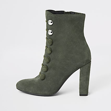 Green suede button heeled ankle boot