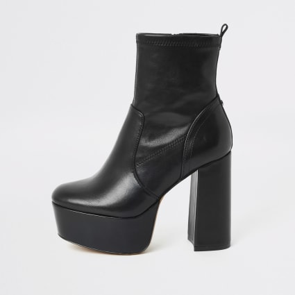 Black high platform boots