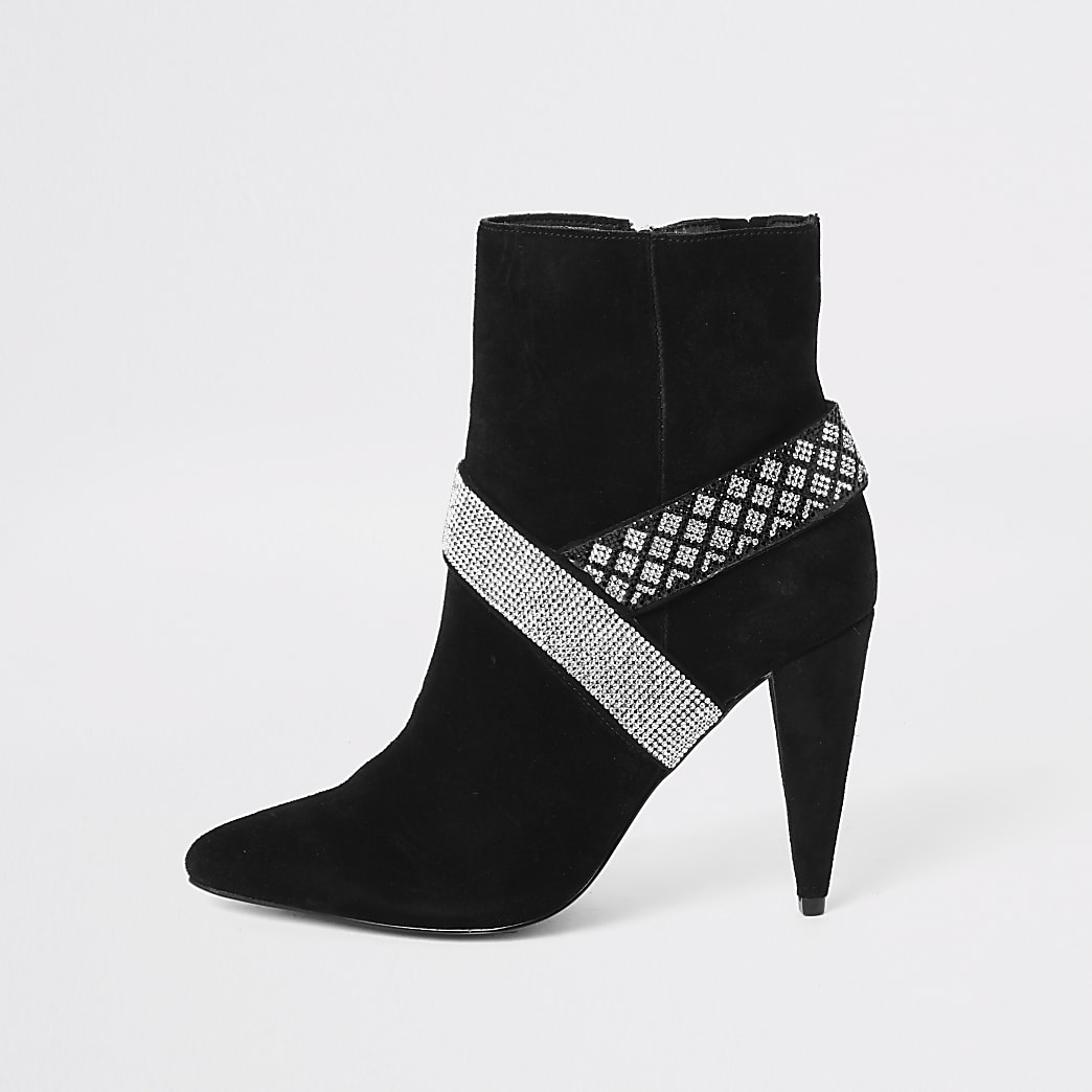 Black suede diamante embellished boots