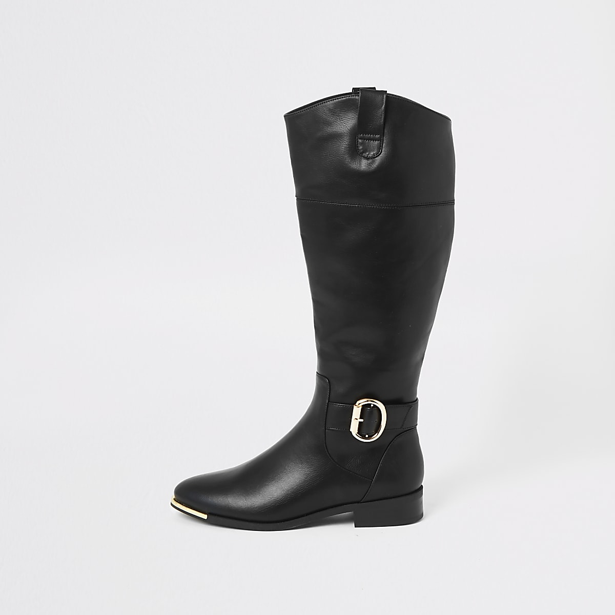 Black buckle knee high boots