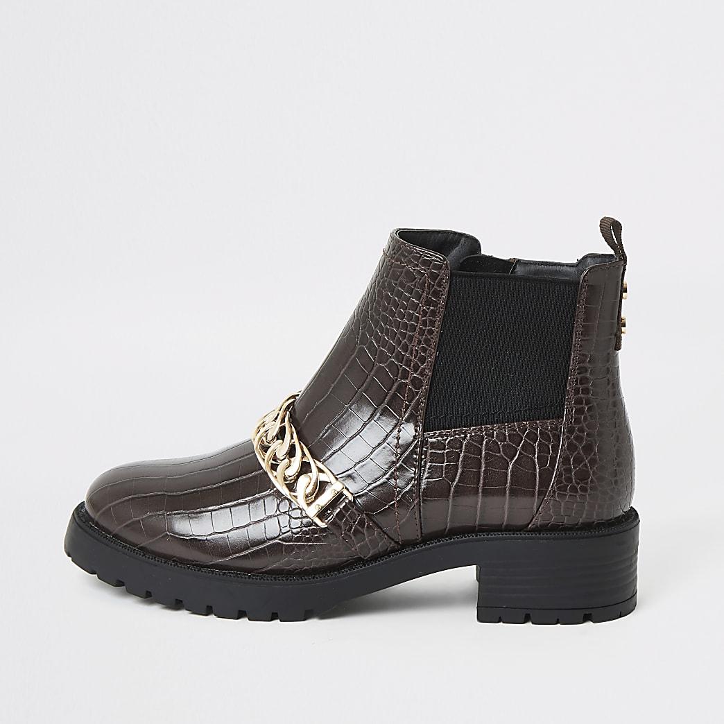 Dark brown croc embossed chain strap boots