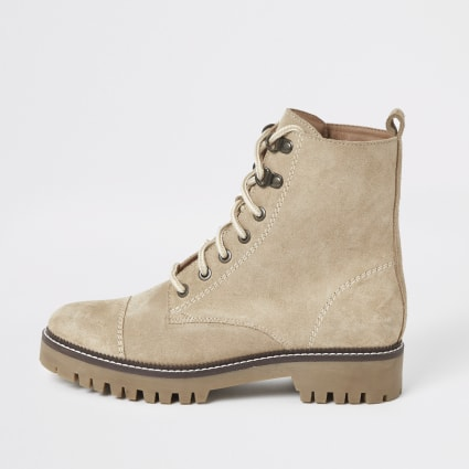 Beige suede lace-up hiking boots