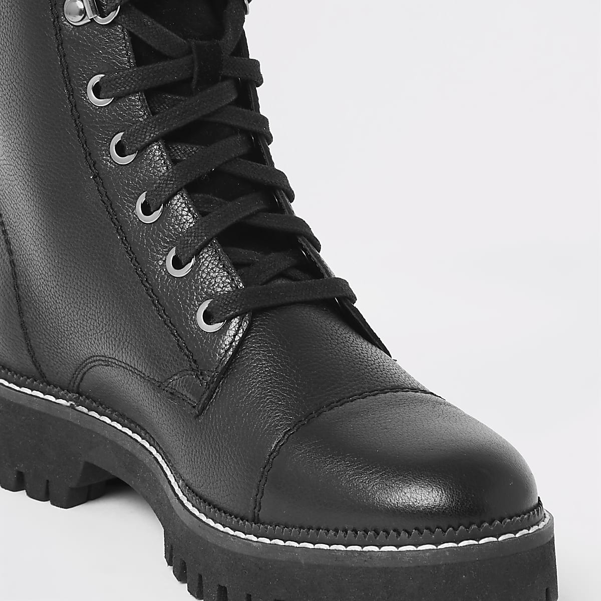 dbf4f742dbb Black leather lace-up hiking boots