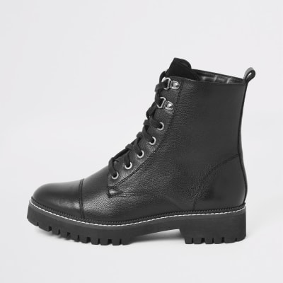 Black Leather Lace Up Hiking Boots by River Island