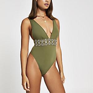 Khaki embellished plunge swimsuit