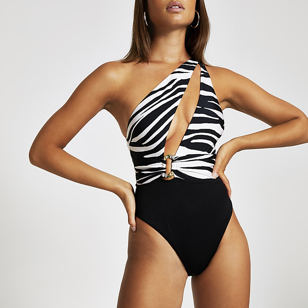 White zebra print one shoulder swimsuit