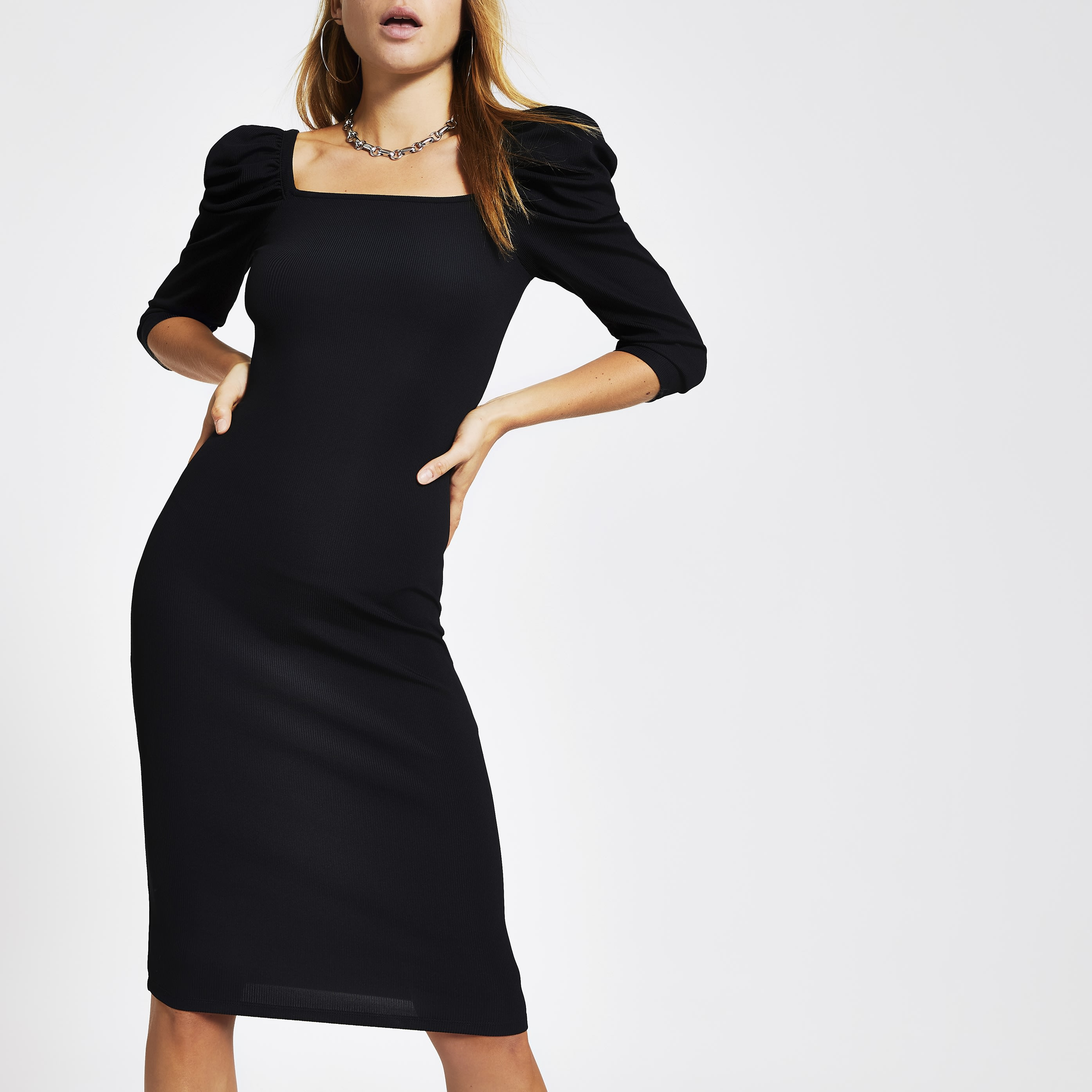 RIVER ISLAND | Womens Black Puff Sleeve Dress | Goxip