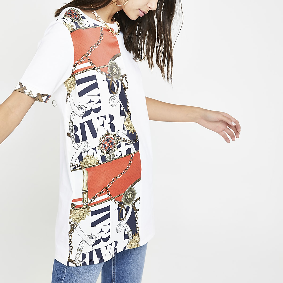 White chain print panel T-shirt