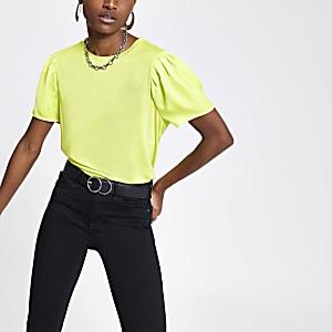 T-shirt vert citron à manches contrastantes