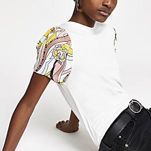 Weißes, kurzärmliges T-Shirt mit Print