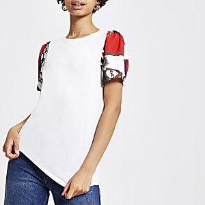 T-shirt imprimé chaîne blanc à manches courtes