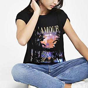 Zwart T-shirt met tropische print