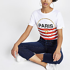 Gestreiftes T-Shirt in Orange mit Paris-Print