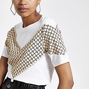 Crème T-shirt met RI-monogram en zigzagmotief