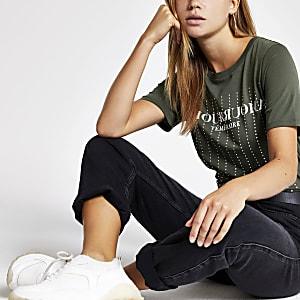 Khaki diamante embellished T-shirt