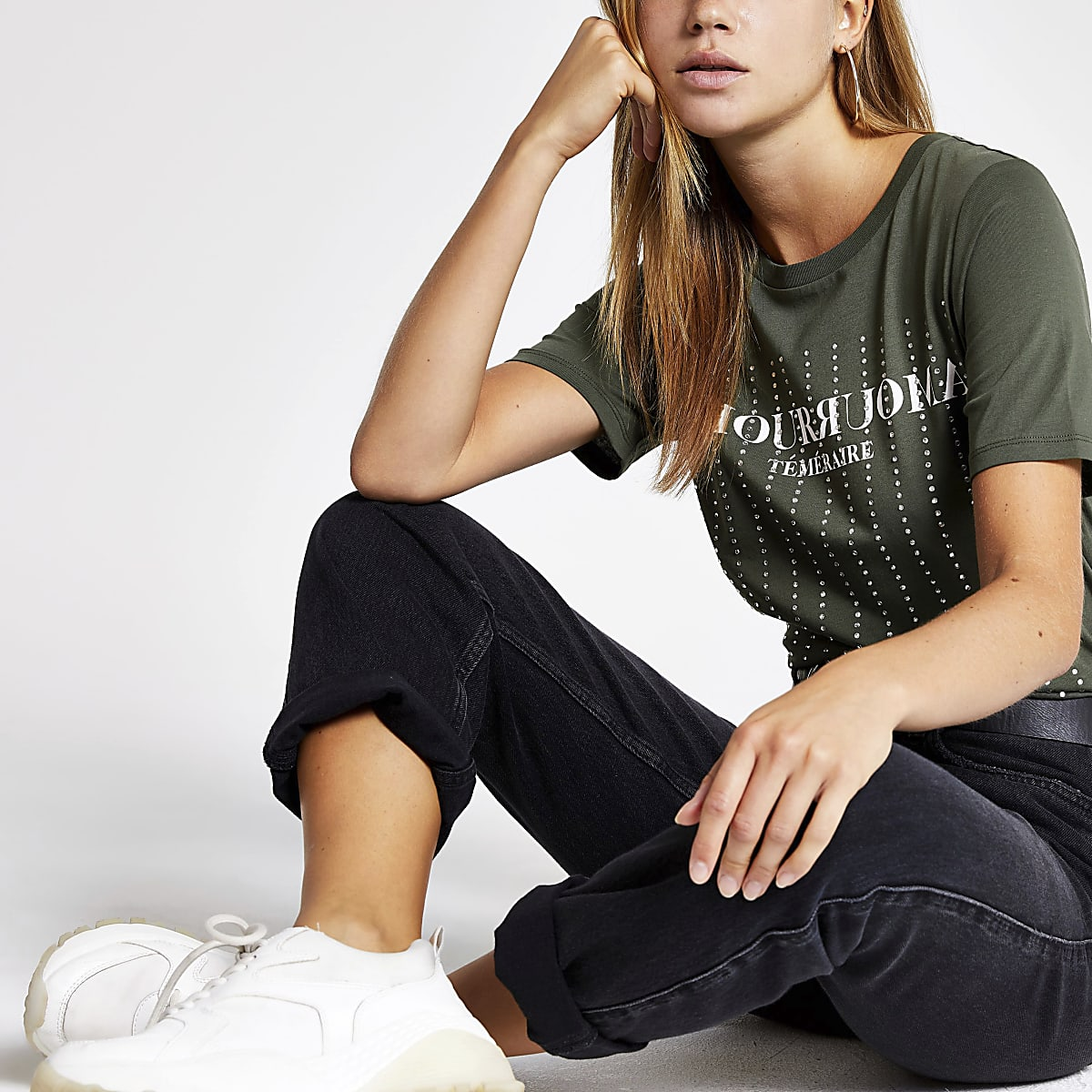 Khaki diamante embellished T-shirt
