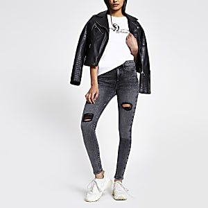Molly - Zwarte ripped jegging