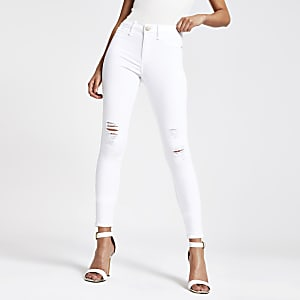 Molly - Witte ripped jegging