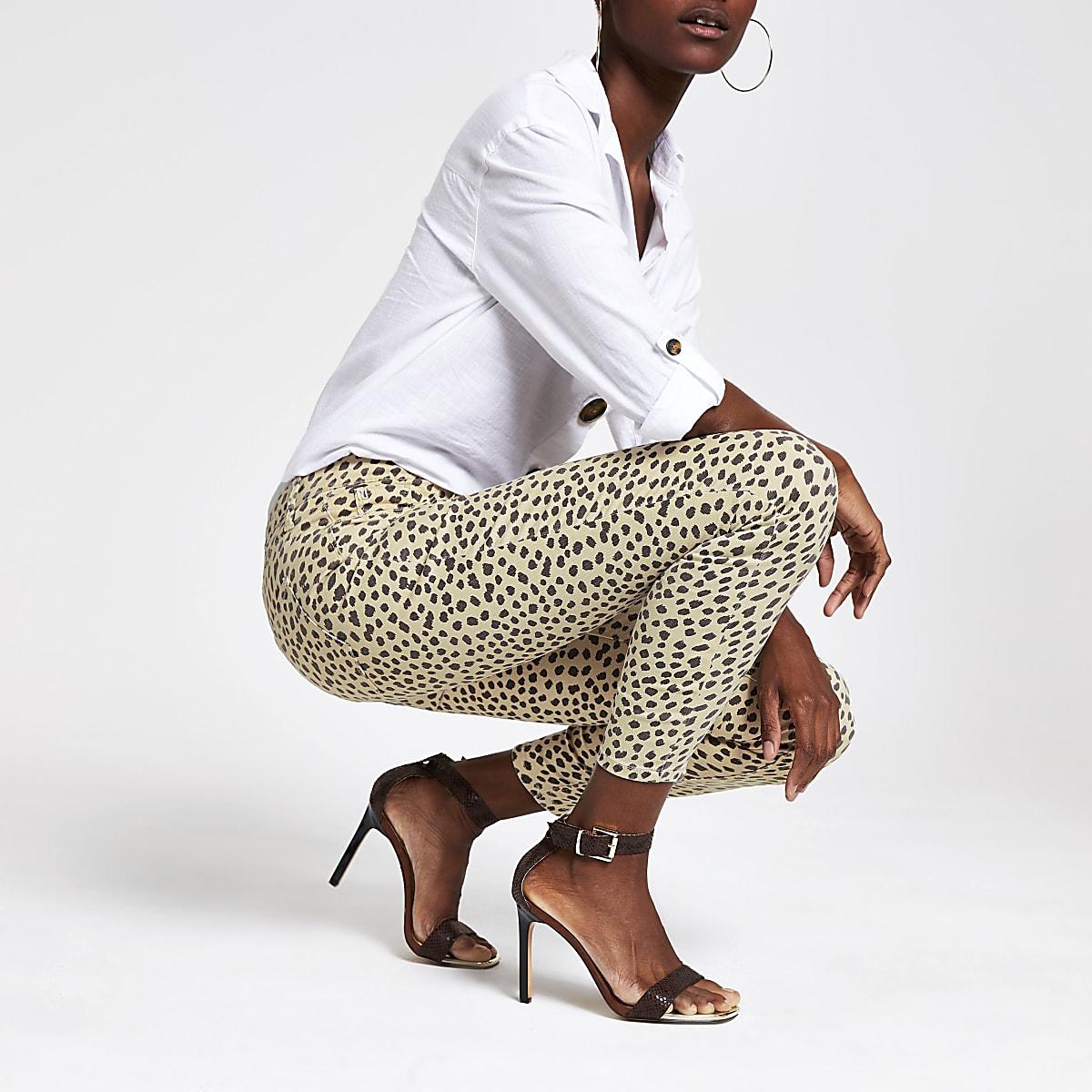 c2a31ed4eab8b Beige leopard print jeggings - Jeggings - Jeans - women