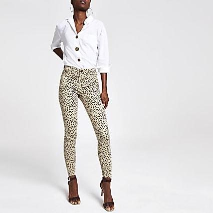 Beige leopard print jeggings
