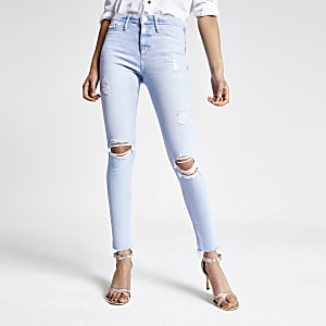 RI - Molly - Lichtblauwe jegging met halfhoge taille