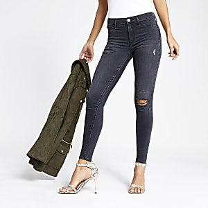 Molly - Zwarte ripped jegging met halfhoge taille