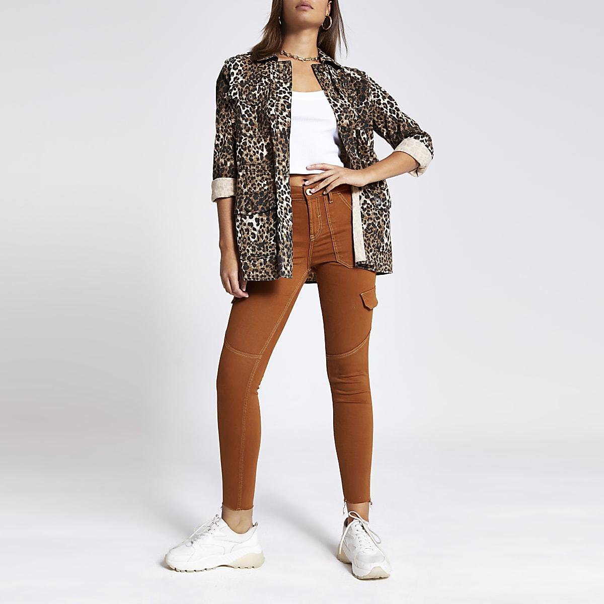 Brown Amelie super skinny utility jeans