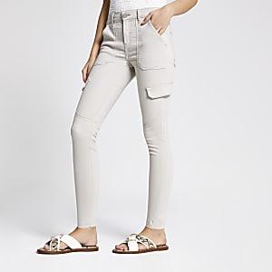 Amelie - Lichtbeige superskinny utility jeans