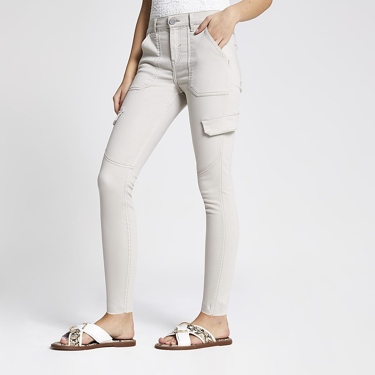 Amelie - Lichtbeige superskinny utility jeans