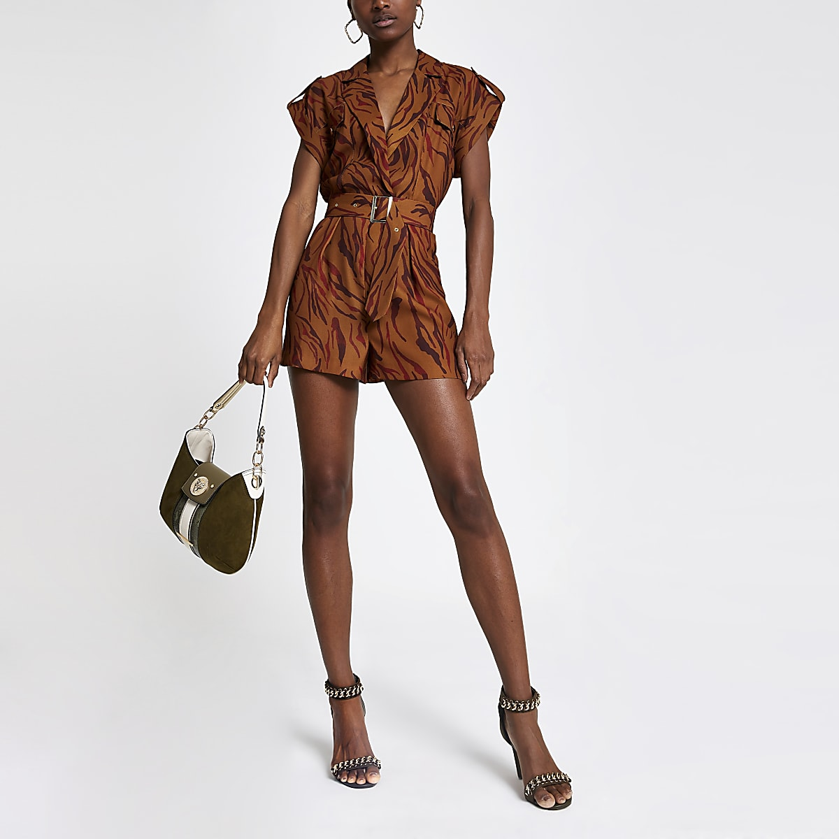 Brown zebra print utility playsuit