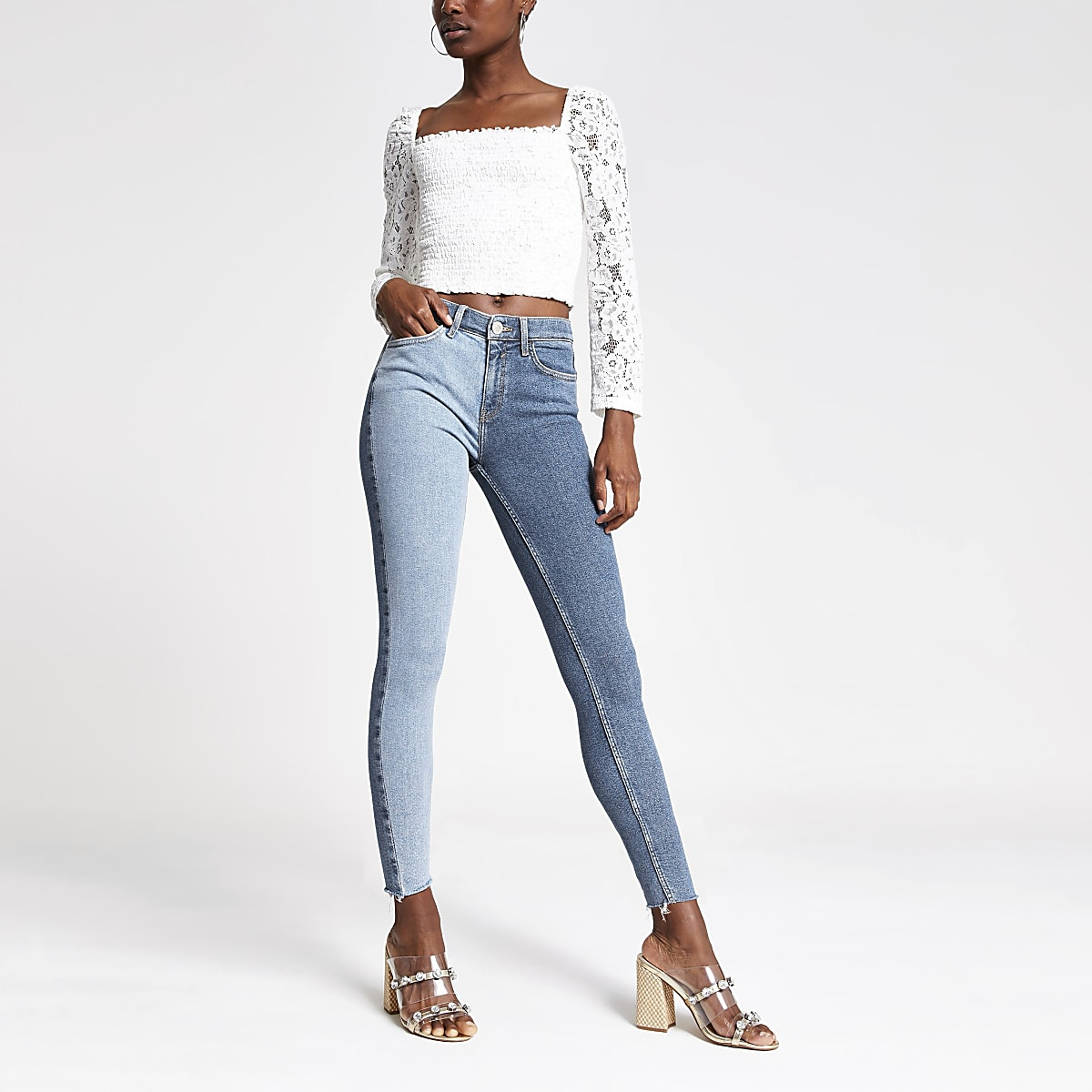 Mid blue Amelie super skinny block jeans