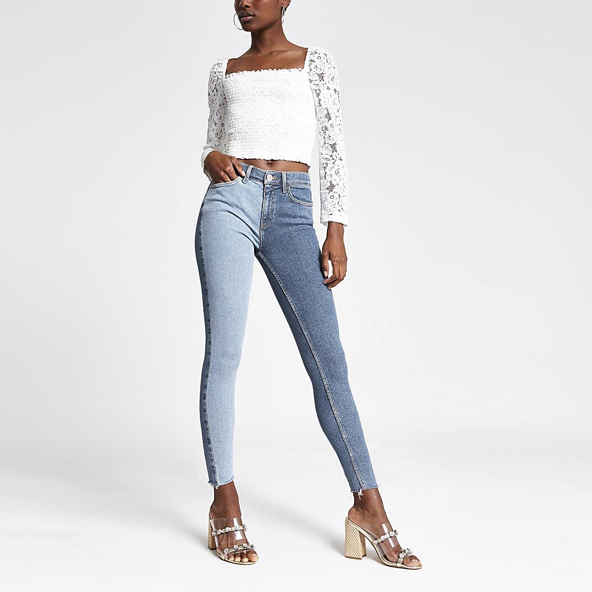 Amelie - Middenblauwe superskinny jeans met kleurvlakken