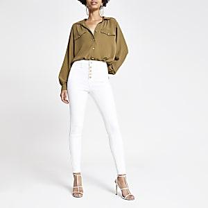 Hailey – Weiße Jeans mit hohem Bund