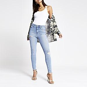 Hailey – Hellblaue Jeans mit hohem Bund