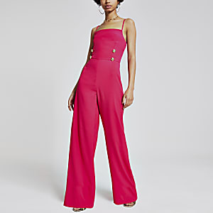 Pink button front wide leg jumpsuit