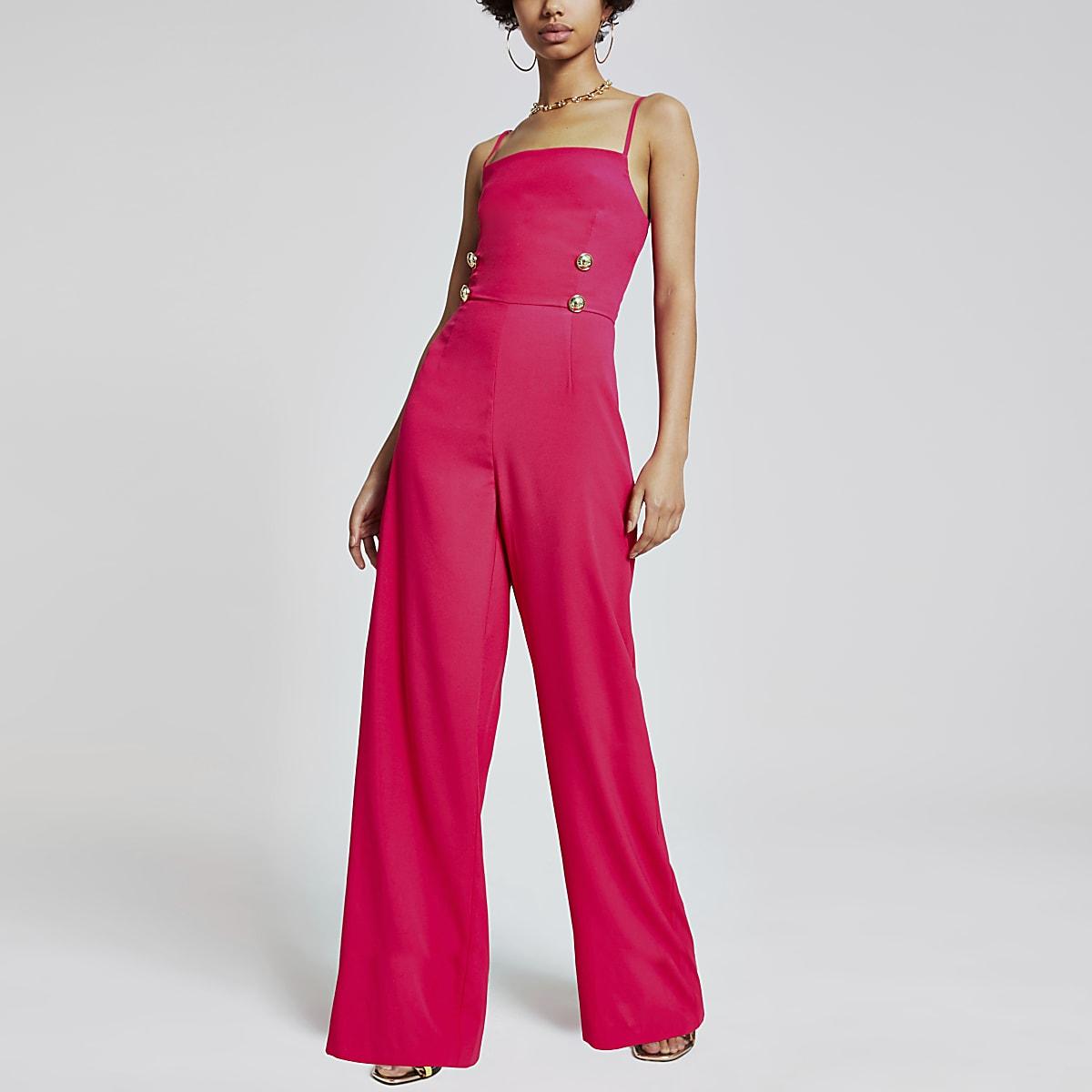 Pink button front wide leg jumpsuit