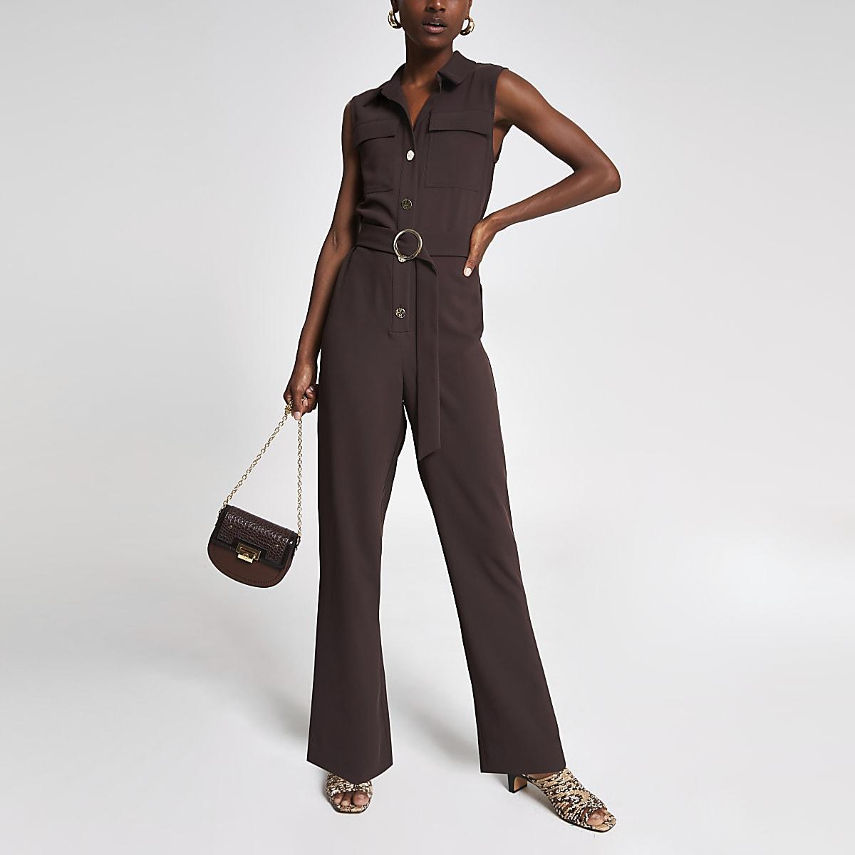 Dark brown utility boiler suit