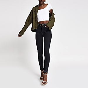 Black Hailey wash high rise jeans