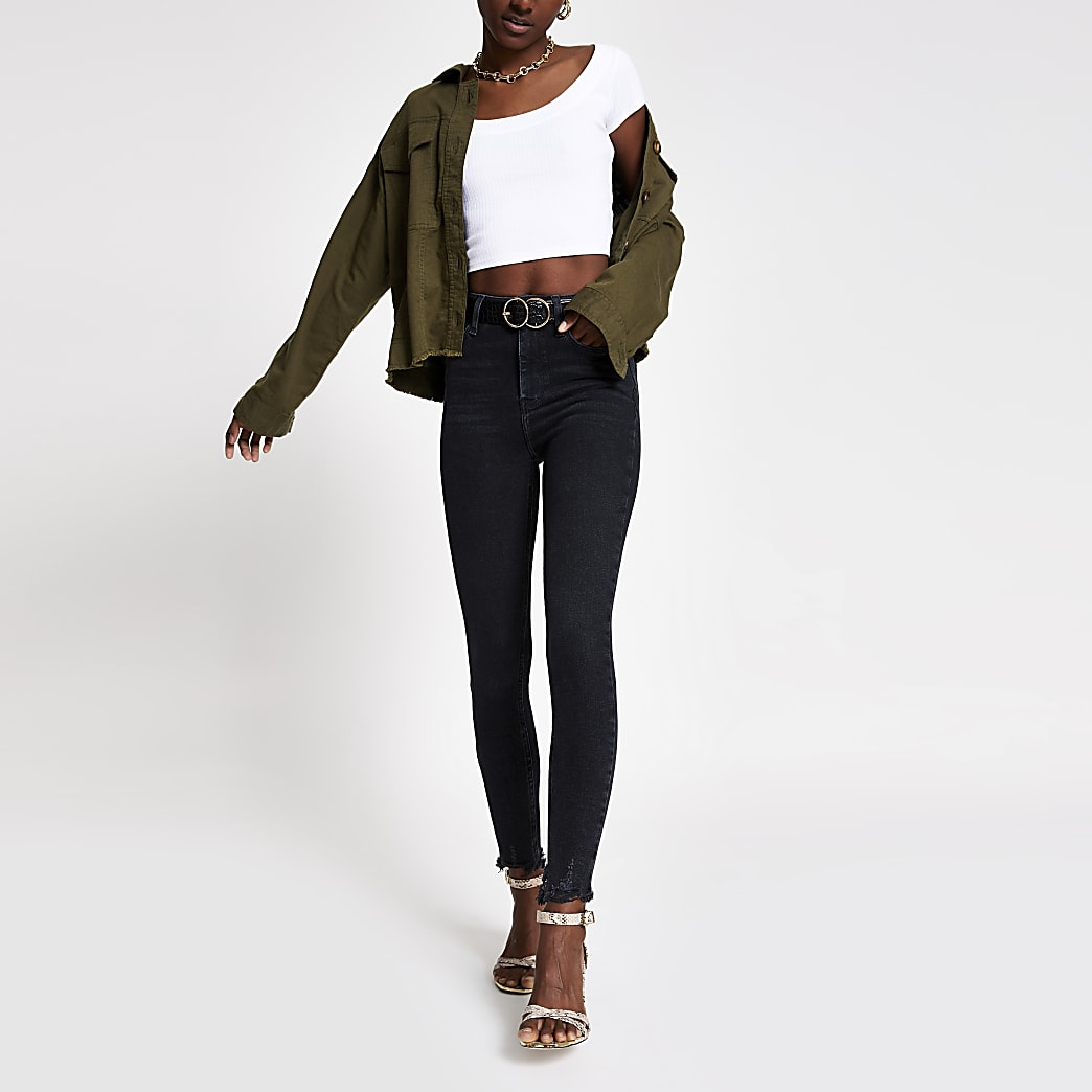 Hailey – Jean taille haute à délavage noir