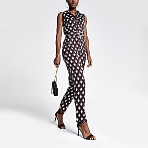 Black mixed print boiler jumpsuit