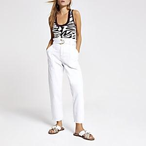 Weiße Paperbag-Jeans