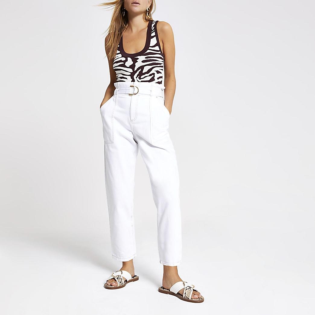 White paperbag denim jeans