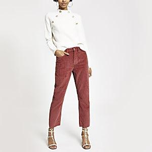 Roestkleurige corduroy denim jeans met rechte broekspijpen